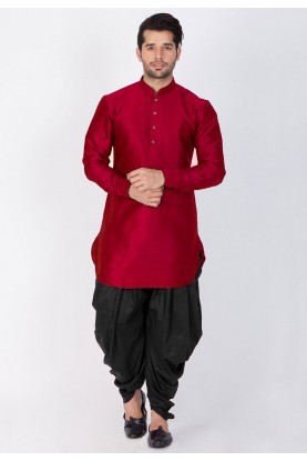 Maroon Color Dhoti Kurta.