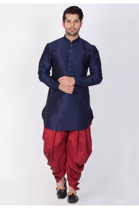 Blue Color Readymade Dhoti Kurta for men