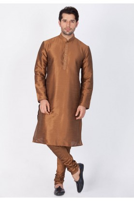 Exquisite Brown Color Cotton Silk Kurta Pajama.