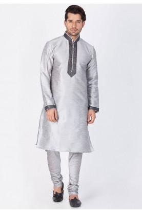 Grey Color Cotton Silk Kurta Pajama.