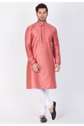 Pink Color Cotton Silk Kurta Pajama.