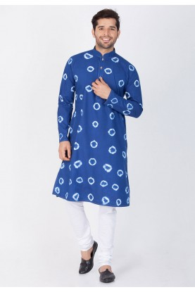 Blue Color Printed Kurta Pajama.