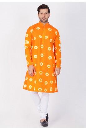 Orange Color Printed Readymade Kurta Pajama.