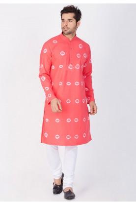 Pink Color Cotton Kurta Pajama.