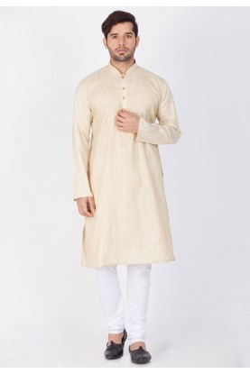 Beige Color Cotton Kurta Pajama.