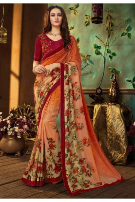 Orange Color Indian Saree.
