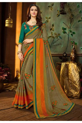Multi Color Printed Saree.