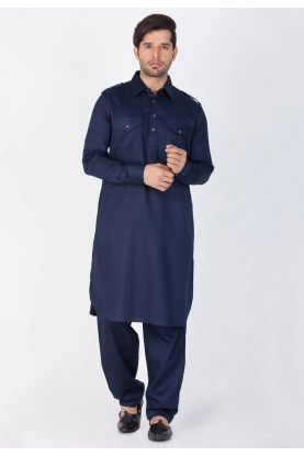 Blue Color Cotton Pathani Kurta Pajama Online