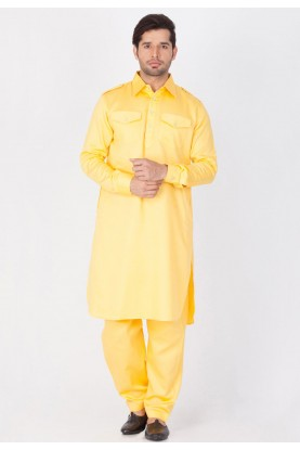 Yellow Color Cotton Pathani Kurta Pajama Online