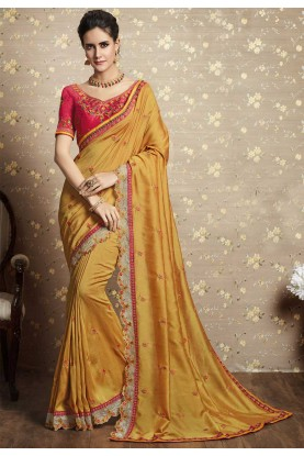 Yellow Color Indain Traditional Saree.