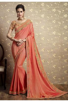 Peach Color Silk Saree.
