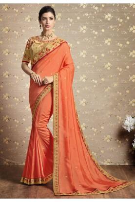 Orange Color Indian Designer Saree.