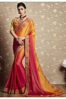 Orange Color Designer Bridal Saree.