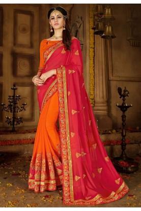 Red,Orange Color Designer Saree.