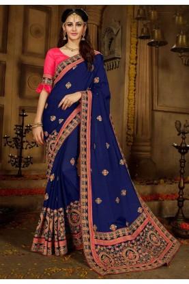 Exclusive Blue Color Silk Saree.