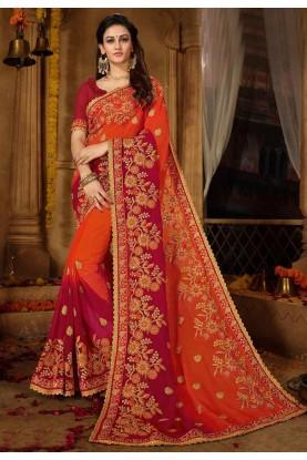 Orange,Maroon Color Embroidered Saree.