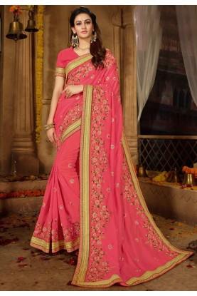 Pink Color Party Wear Sari.