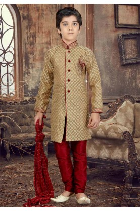 Golden Color Boy's Kurta Pajama.