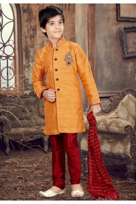 Orange Color Boy's Designer Kurta Pajama.
