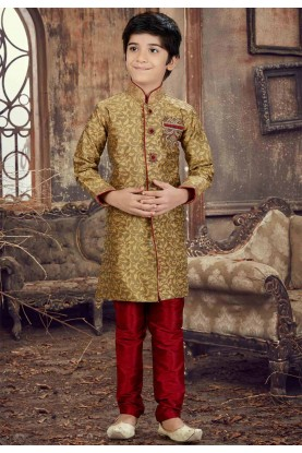 Exquisite Brown Color Boy's Kurta Pajama.