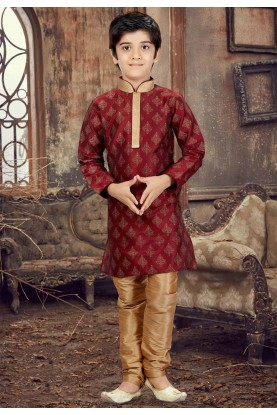 Maroon Color Boy's Kurta Pajama.