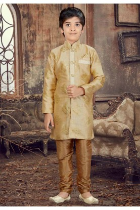 Golden Color Boy's Designer Kurta Pajama.