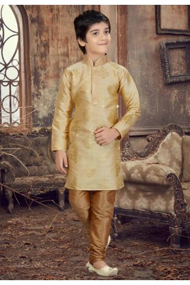 Golden Color Silk Boy's Kurta Pajama.