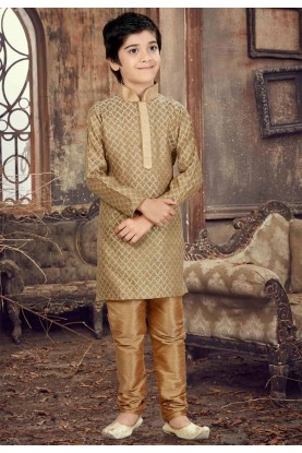 Beige Color Boy's Readymade Kurta Pajama.
