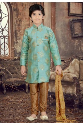 Green Color Silk Boy's Readyamde Kurta Pyjama.