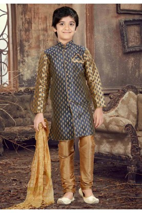 Blue,Golden Color Boy's Designer Kurta Pajama.