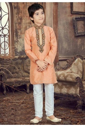 Peach Color Boy's Readymade Kurta Pajama.
