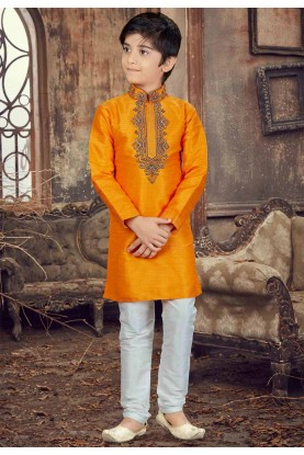 Yellow Color Boy's Designer Kurta Pajama.