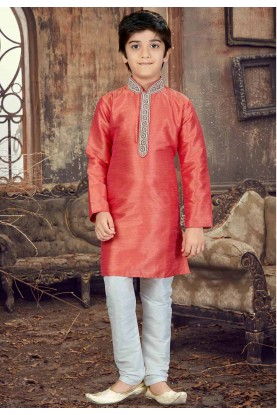 Peach Color Boy's Readyamde Kurta Pajama.