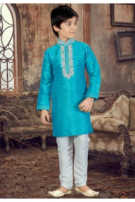 Turquoise Color Boy's Kurta Pajama.