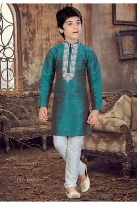 Green Color Boy's Readymade Kurta Pajama.