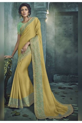 Yellow Color Indian Designer Saree.