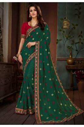 Green Color Silk Saree.