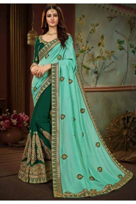 Green Color Indian Traditional Saree.