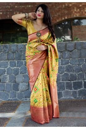 Yellow Color Banarasi Silk Saree.