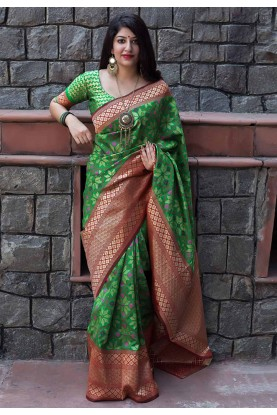 Green Color Traditional Saree.