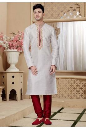 Off White Color Kurta Pajama.