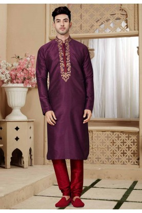 Wine Color Party Wear Kurta Pajama.