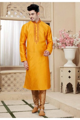 Yellow Color Indian Designer Kurta Pajama.