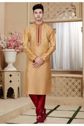 Beige Color Readymade Kurta Pajama.