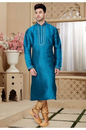 Blue Color Art Silk Kurta Pajama.