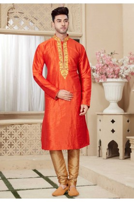 Rust Color Men's Kurta Pajama.