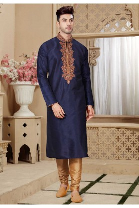 Blue Color Readymade Kurta Pajama.