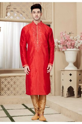Maroon Color Art Silk Kurta Pajama.