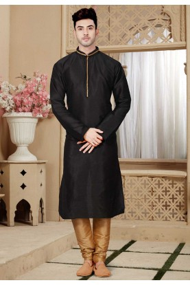 Buy Black Color Party Wear Designer Kurta Pajama Wedding