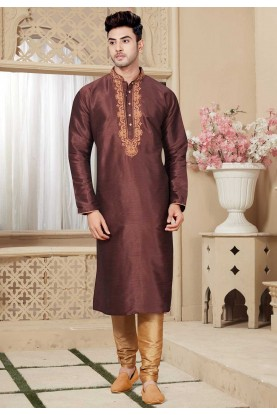 Buy Brown Color Readymade Designer Kurta Pajama for Mens